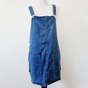 Sky & Sparrow Denim Overalls Skirt